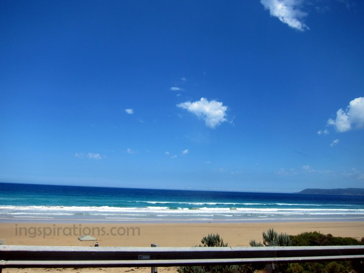 View from our car when driving along Great Ocean Road.