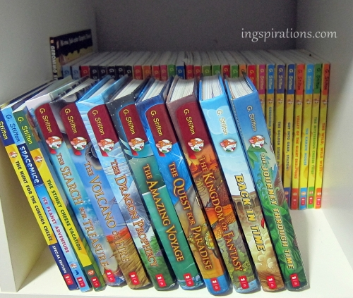 Two rows of the boys' Geronimo Stilton Collection.
